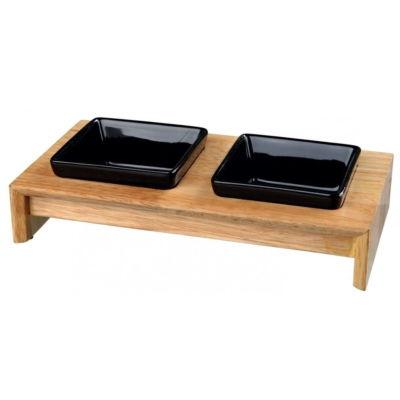 Zestaw miseczek ceramicznych na drewnianej podstawie