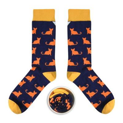 Skarpetki w koty, Cup of Sox (Granatowo-Pomarańczowe)