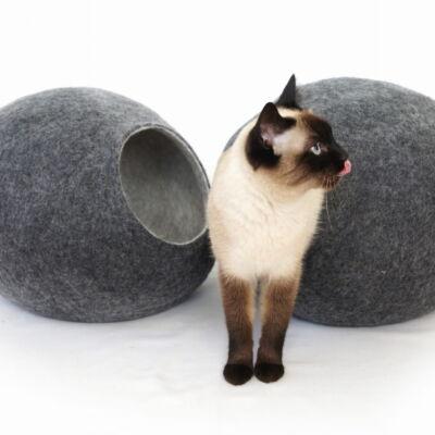 Wełniane legowisko dla kota, kokon Kivikis, Grafit