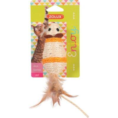 Duża myszka z sizalu z piórkiem