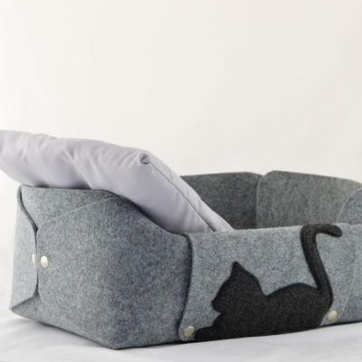 Filcowe legowisko z poduszką, szare