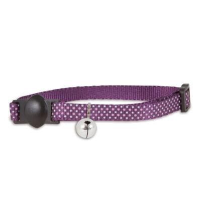 Bezpieczna obroża Dots Purple świecąca w ciemności