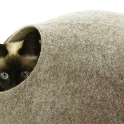 Wełniane legowisko dla kota, kokon Kivikis, Cappuccino