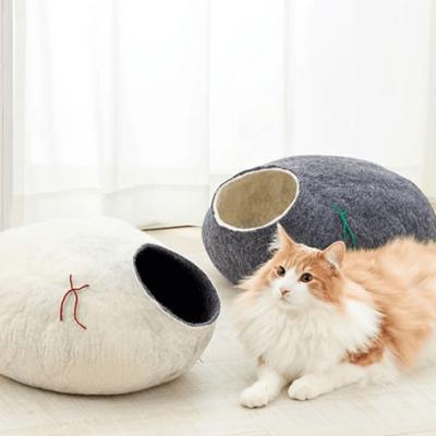 Wełniane legowisko dla kota, kokon Kivikis, Śnieżna biel