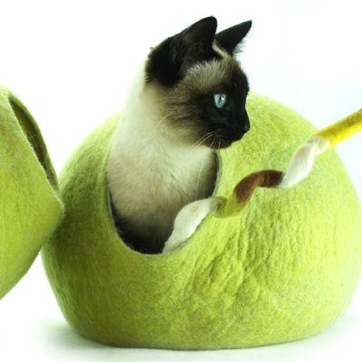Wełniane legowisko dla kota, kokon Kivikis, Limonka